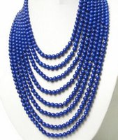 Wholesale lapis lazuli silver resale online - Necklace nature row round lapis lazuli necklace