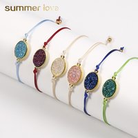 Wholesale colorful 18k bracelet for sale - Group buy New Fashion Natural Resin Stone Oval Druzy Pendant Bracelet With Thanks Card Colorful String Braiding Bracelets for Men Women Jewelry Gift