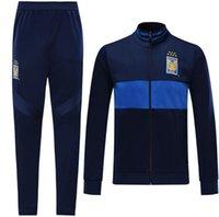 kaplan üniforma toptan satış-2019 2020 7 Yıldız Kaplan Eşofman UANL Mavi Gömlek 19 20 Meksika Kulübü Futbol Üniforma Eğitim takım Uzun Fermuar Spor Giyim Setleri