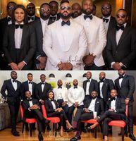 batı smokedoları toptan satış-2019 Yeni Damat Erkek Örgün Smokin Batı Düğün Için Suits Doruğa Yaka Bir Düğme Beyaz Damat Bestmen Suits Suits