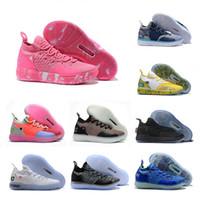 gri kd ayakkabı toptan satış-2019 Yeni KD 11 Teyze Inci Pembe Paranoyak Serin Gri EYBL Kevin Durant XI Erkek Basketbol Ayakkabıları Üst 11 s KD11 Köpük Sneakers Size7-12