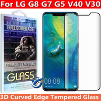 Wholesale screen covers free for phone for sale – best 3D Curved Edge Full Cover Tempered Glass Phone Screen Protector for LG G8 G7 G5 V30 V40 in retail box dhl