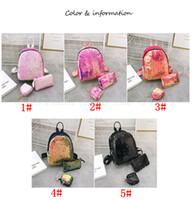 menina material bolsas venda por atacado-3 pçs / set Lantejoula mochila conjunto com moeda saco de embreagem saco de viagem sacos de material escolar estudante menina sacos de armazenamento com zíper FFA2784-A