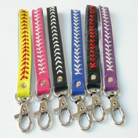 Wholesale keys for kids for sale - Group buy Baseball leather keychain fastpitch softball accessories baseball seam key ring Creative fashion Christmas party Gift For Kids LXL927