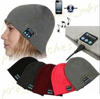 beanies наушники оптовых-Bluetooth Music Beanie Hat Беспроводная Smart Cap Гарнитура Наушники Динамик Микрофон Handsfree Music Hat OPP Сумка Пакет H0074