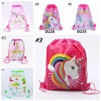 Wholesale kids string school bag resale online - Unicorn Drawstring Backpack Girls Princess Kids Theme Party Backpack Candy Bags School backpack Storage Bags MMA1113