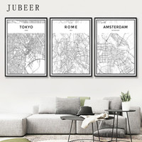 Wholesale new paint wall resale online - London Paris New York Tokyo World City Map Posters Nordic Style Wall Art Canvas Picture Black and White Painting for Living Room