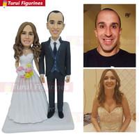 fotos de muñecas reales al por mayor-Coleccionables OOAK Dollhouse polímero arcilla personalizada muñecas persona real cara obra de arte obra muñeca estatuilla de imagen regalos de boda