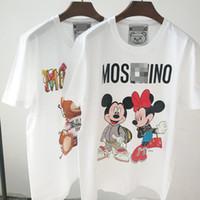 rolamento livre venda por atacado-Mulheres designer de camiseta t shirt da roupa branca de manga curta urso par impressão dos desenhos animados de algodão solto novo algodão T-shirt