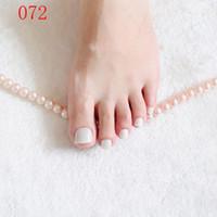 pérolas brancas falsas venda por atacado-24pcs Pearl White Acrílico Toe pregos falsificados Quadrados Meninas Press On Nails Para Pés Articficial doce cor Falso Toenails Manicure