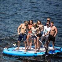şişirilebilir büyük pvc toptan satış-Aqua Marina MEGA 550 * 152 * 20 cm Büyük Boy Şişme SUP Stand Up Kürek Kurulu Sörf Kamera Dağı Ile Şişme Bot A01014