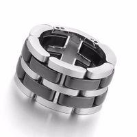 zircônia cerâmica china venda por atacado-Jóia legal dos homens de aço inoxidável anel de cerâmica preta, rolar gravado polimento de prata um único link anéis de moda para o homem