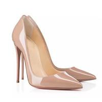 en iyi elbiseler toptan satış-En iyi kalite Tasarımcı Kadınlar yüksek topuklu kırmızı alt ayakkabı Yani Kate Stilleri 105mm Stilettos Pompaları Seksi Elbise Ayakkabı Üzerinde Kayma Düğün ayakkabı