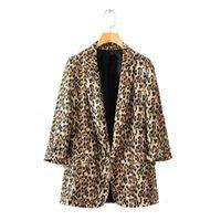 trajes de chaqueta de damas marrones al por mayor-2018 collar de otoño las mujeres de Brown del leopardo Blazers femeninas chaquetas para Womens Outwear Femenino señoras de la oficina muescas Tops adapta a sistemas Y190925
