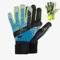 guantes xs al por mayor-Guantes de portero sin puntas de los dedos niños adultos guantes de portero de látex grueso entrenamiento de fútbol resbaladizo