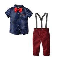 gestreifte formale hose groihandel-2ST Kleinkind Baby Formal Gentleman Anzug Short Sleeve Striped T-Shirt + Strap Hosen-Gamaschen Tousers-Kind-Junge Outfits Set 2-6T
