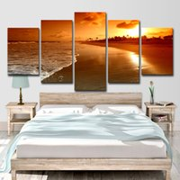 Wholesale sea wall art panels resale online - Canvas Paintings Living Room Home Decor HD Prints Posters Pieces Beach Sea Waves Sunset Seascape Pictures Wall Art Canvas Poster Unframed