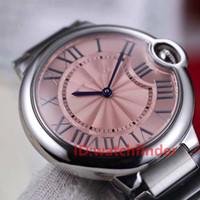 correa de cuero negro vestido reloj al por mayor-Cuarzo rosa cuero negro para mujer banda de acero inoxidable Unisex lujo vestido de moda relojes de pulsera mujer diseñador relojes reloj