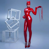 Wholesale leather jumpsuit halloween online – ideas Red Black PVC Faux Leather Latex Wet Look Bodycon Jumpsuit Night Prowler Sexy Catwoman Catsuit Halloween Cosplay Super Hero Costume
