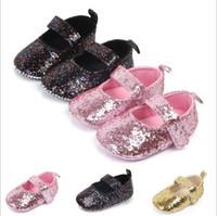 ingrosso kids sequin shoes-scarpe di lusso per bambini Paillettes scarpe da deambulatore Toddler Neonato morbido fondo morbido Bling designer Princess Scarpe Prewalker Calzature