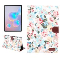 Wholesale wallet mixed resale online - Floral Fabric Leather Case with Wallet Slot for Samsung Galaxy Tab S6 T860 T865 Tablet Smart Cover
