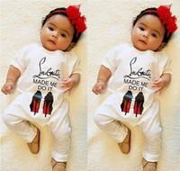 bebek yenidoğan tek parça toptan satış-Bebek Bahar Sonbahar Uzun Kollu Tulum Çocuklar Pamuk Tulum Yenidoğan Bebek Mektup Geniş Yaka Tek Parça Pamuk Tulum Bebek Giysileri perakende
