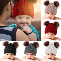 Wholesale baby beanies cotton solid resale online - Winter Warm Baby Hat Pompon Winter Children Hat Knitted Cute Cap For Girls Boys Casual Solid Color Girls Baby Beanies
