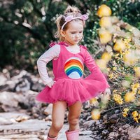 tul arcoiris al por mayor-2019 New Sweet Cute Little Girls Rainbow Summer Kid Bady Girl Correa Imprimir Encaje Tutu Tulle Patchwork Princesa Vestido Casual