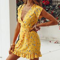 vestido casual manga corta amarillo al por mayor-Volantes con cuello en V de manga corta para mujeres sueltas Imprimir Casual Vestido de gasa de verano amarillo Playa Mini vestidos elegantes Vestido de ropa de diseñador