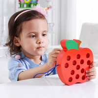 Wholesale educational apple for sale - Group buy Wooden Worm Eat Apple Learning Early Development Baby Toy Lacing Threading Big Apple Kids Educational Toys Board