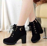 avrupa yeni kadınlar topuk toptan satış-2019 Yeni Sonbahar Kış Kadın Boots Yüksek Kaliteli Katı Dantel-up Avrupa Bayanlar ayakkabı PU Moda yüksek topuklu çizmeler