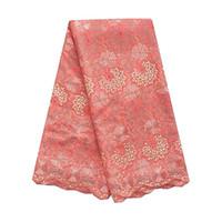 krem kumaşlar toptan satış-WorthSJLH Afrika İsviçre Dantel Kumaş Krem Düğün Kuru Dantel Kumaş Turuncu Kadınlar Için Afrika Dantel Kumaş 2019 Yüksek Kalite Elbise
