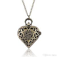 reloj de bolsillo de cuarzo corazon al por mayor-Bronce antiguo hueco en forma de corazón de cuarzo reloj de bolsillo collar colgante de cadena para mujer joyería de las señoras relojes de regalo reloj de bolsillo