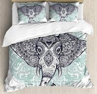 cama de rainha elefante venda por atacado-Elefante Mandala Capa de Edredão Set Queen Size Étnico Tribal Floral Paisley Impressão Cabeça de Animais Sagrados Hippie 4 Peça Conjunto de Cama