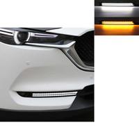 luzes led mazda cx venda por atacado-2 PCS Carro DRL Para Mazda cx-5 cx5 cx 5 2018 2017 Turn Signal e escurecimento estilo Relé 12 V LED Daytime Running Luz Nevoeiro Lâmpada decoração