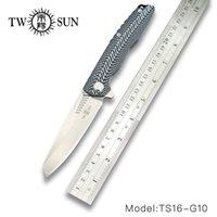iki bıçak toptan satış-TWOSUN TS20 D2 blade katlanır bıçak Pocket Knife taktik bıçak Survival bıçaklar avı kamp açık aracı G10