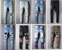 erkekler için moda ayakkabı kot toptan satış-Moda Klasik Erkek Sıkıntılı Ripped Biker Jeans Slim Fit Erkekler Için Motosiklet Biker Denim Moda Tasarımcısı Hip Hop Erkek Kot Kaliteli