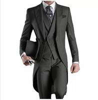 ingrosso sposo mattino smoking-Abiti da sposa Custom Made smoking dello sposo Groomsmen Mattina miglior uomo di punta del risvolto degli uomini Groomsman (Jacket + Pants + Tie + Vest)