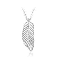 подвесной бриллиант оптовых-Стерлингового Серебра 925 Перо Кулон Цепи Ожерелье Набор Оригинальная Коробка для Pandora CZ Diamond Crystal Женщины Ожерелья