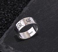 made china sterling silver venda por atacado-Itália Designer de moda de nova 925 prata esterlina Fantasma anéis de jóias de prata antigo do vintage mão-feito Hip hop mens e mulher presente anel gg