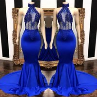 Wholesale high neck prom dress beads top resale online - Popular Royal Blue High Neck Prom Dresses Sexy Mermaid See Through Beads Sequins Top Satin Long Evening Gowns BC0798