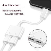aydınlatma kulaklıkları toptan satış-2 in 1 Çift Adaptörü 3.5mm Aydınlatma Kulaklık Ses Şarj Konnektörleri Kablo iphone X XR 7 8 Yeni sürüm IOS 10.3 Hızlı Şarj