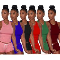 Wholesale plus size clothes piece for sale - Women Two Piece Shorts Sets Outfits Designer t Shirts Tank Top Shorts Sportswear Brand Sleeveless Jogging Suit Plus Size Clothing A3203