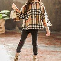 duffle coat toptan satış-Kızlar Kış Coat Duffle Ceket Rahat Kalınlaşmış Sıcak Ceket Çocuklar Tasarım Giysileri Kızlar Ekose Kalınlaşmış Windcoat 07