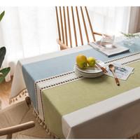 mavi masa örtüleri toptan satış-Pamuk Ve Keten Nakış Püskül Masa Örtüsü Kahve Dükkanı Ev Oturma Odası Dikdörtgen Basit Moda Çay Masa Giysi 56lx8C1