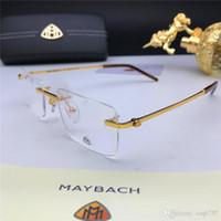tarzı erkekler araba toptan satış-Yeni otomobil markası maybach reçeteli lens Z109 çerçevesiz iş adamları yapabilir optik gözlük tasarımcısı moda stil üst şeffaf lens
