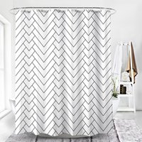 cortinas de chuveiro de qualidade venda por atacado-2019 NOVA CHEGADA Hotel Qualidade Branco Listrado Tecido Repelente de Água-Resistente Ao Molde Cortina de Chuveiro