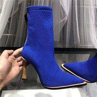 çizmeler yüksek topuk unisex toptan satış-Yüksek topuk örgüsü çorap patik Donanma Kadın Tasarımcı Boots Kar Örme Kadınlar patik Casual Martin Boots Toptan Bayanlar Kış Çizme