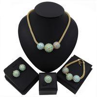 ingrosso insieme di sfera dell'oro dei monili-Set di gioielli in oro di Dubai Dubai per le donne di cristallo verde di moda a forma di palla matrimonio africano all'ingrosso di design