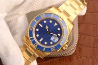 ingrosso orologi di superficie-Orologio da uomo di lusso placcato in oro (spessore 11 micron) ETA2836 orologio meccanico di superficie blu orologio automatico impermeabile da 300 metri